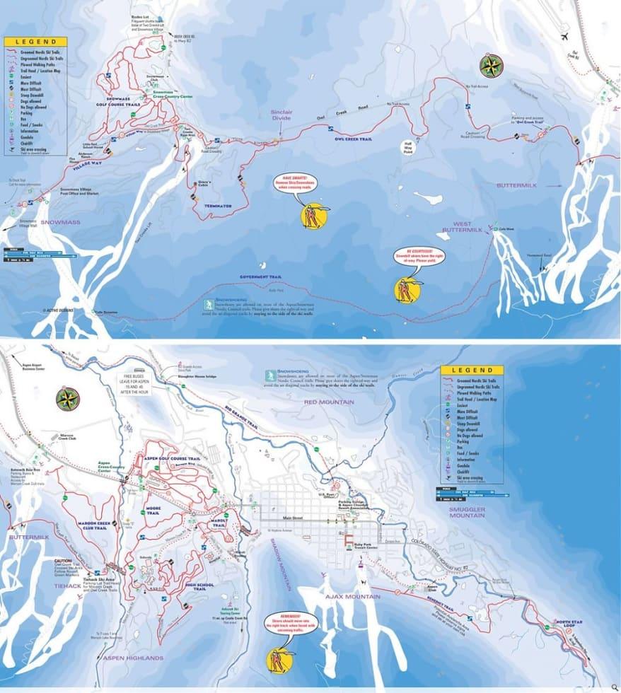 Aspen/Snowm XC Trail Map | Liftopia on