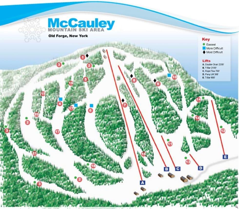 McCauley Mountain Ski Area Trail Map | Liftopia on spring mountain ski resort trail map, old forge ny snowmobile trail map, ny hiking trails map, new york ave dc, beech mountain ski resort map, new york state ski areas, poconos ski resort map, lake placid ski resort map, new england ski areas map, sunrise ski resort map, new england ski resorts map, park city trail map, new york state skiing, bretton woods ski resort map, mammoth ski resort map, new york resorts and lodges, india ski resorts map, lookout ski resort idaho map, blue knob ski resort trail map, new jersey ski resorts map,