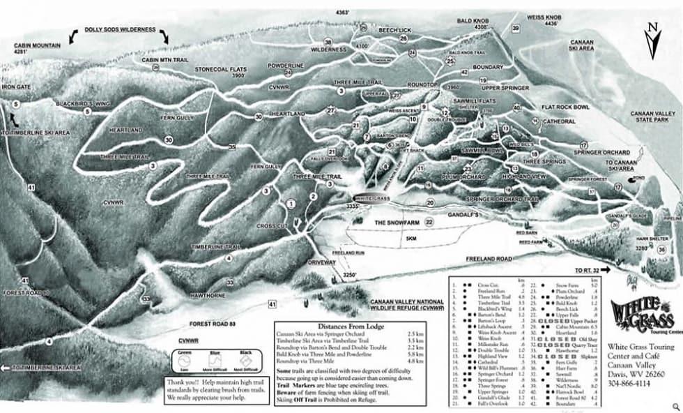 White Gr XC Trail Map | Liftopia on
