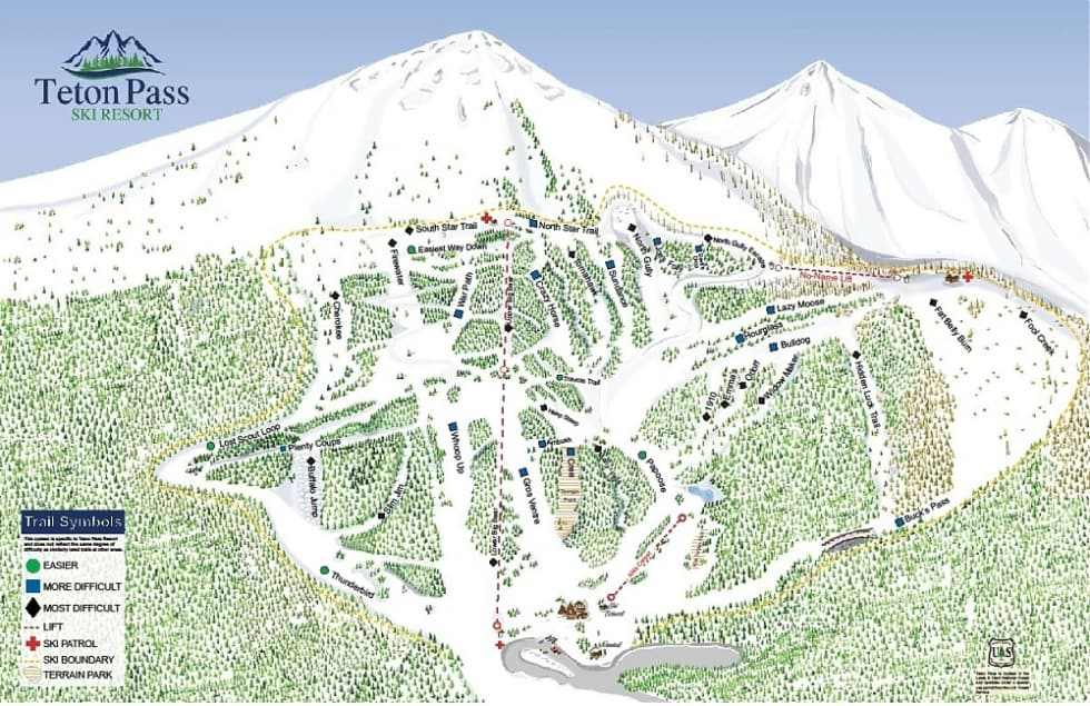 Teton Pass Ski Resort Trail Map Liftopia