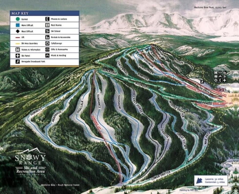 Ski Areas In Wyoming Map.Snowy Range Trail Map Liftopia
