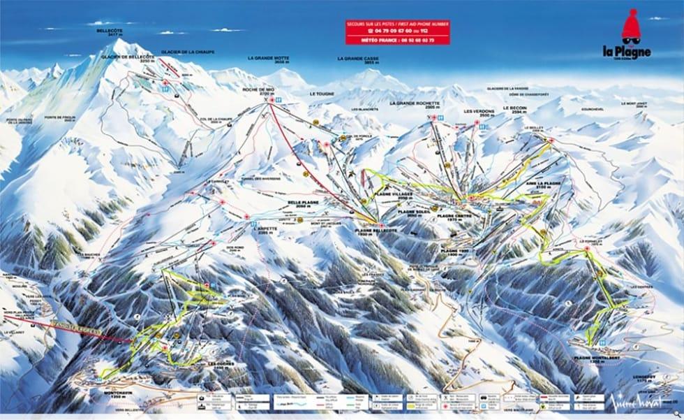 La Plagne Map La Plagne Trail Map | Liftopia