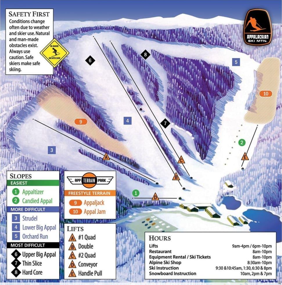 appalachian ski mountain trail map | liftopia