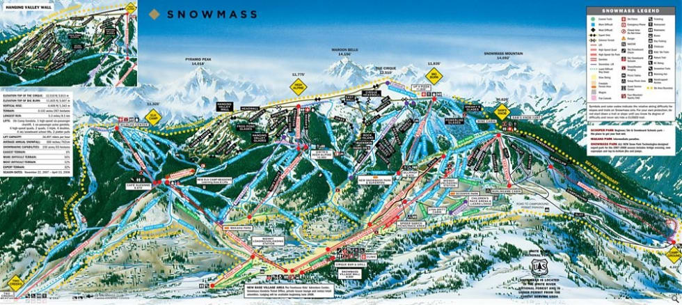 Snowmass Trail Map | Liftopia
