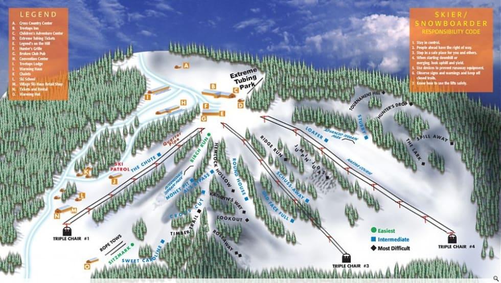 Ski Resort Michigan Map.Treetops Resort Trail Map Liftopia
