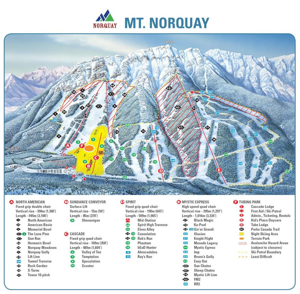 Map Of Canada Banff.Banff Mt Norquay Trail Map Liftopia