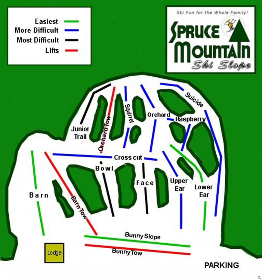 Spruce Mountain Trail Map | Liftopia on maine united states map, discovery ski resort trail map, maine atv trail map, maine county map with towns,
