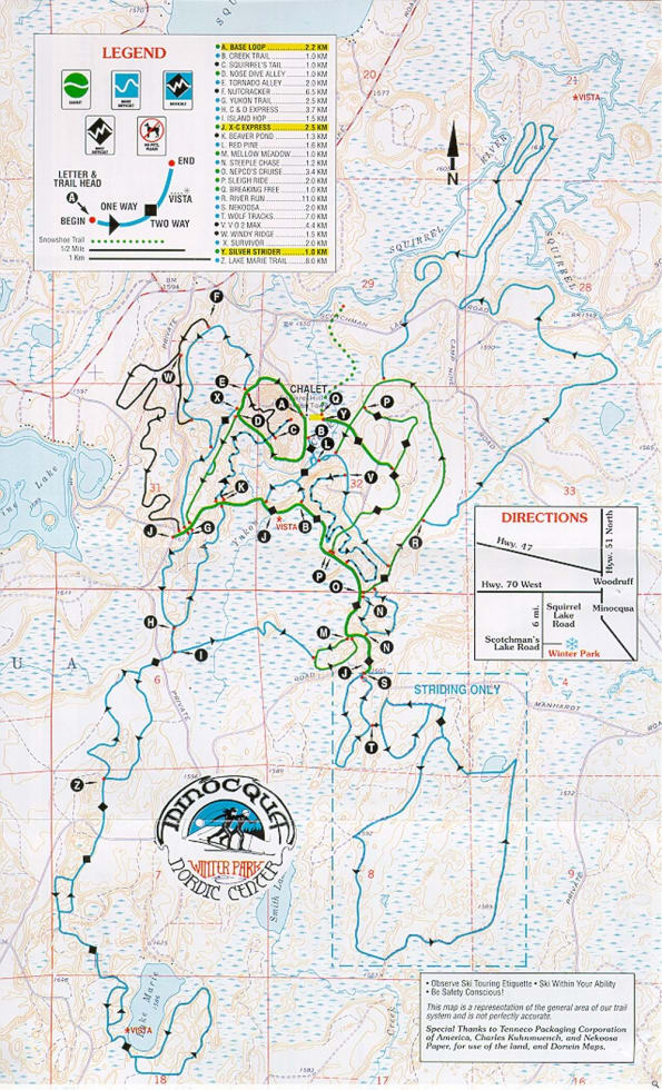 Minocqua Winter Park XC Trail Map | Liftopia on