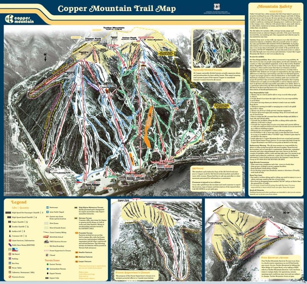 Copper Mountain Trail Map | Liftopia on
