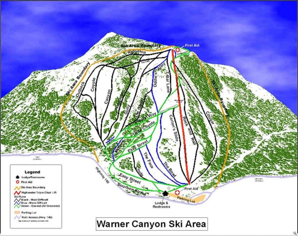 Warner Canyon Trail Map | Liftopia on