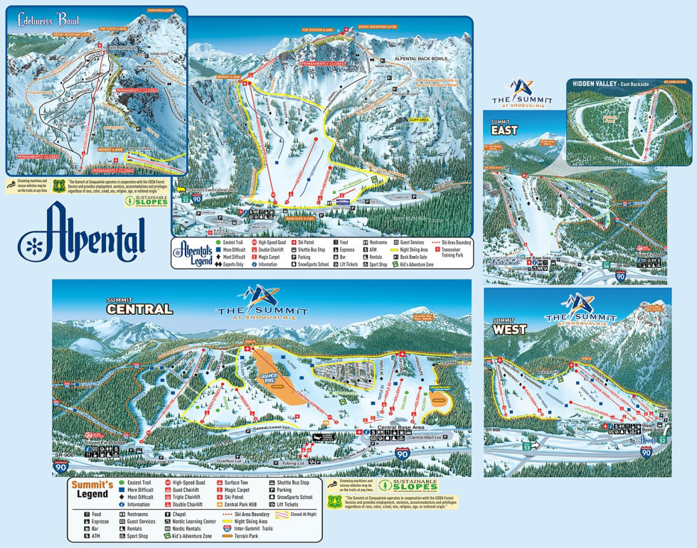 The Summit at Snoqualmie Trail Map | Liftopia