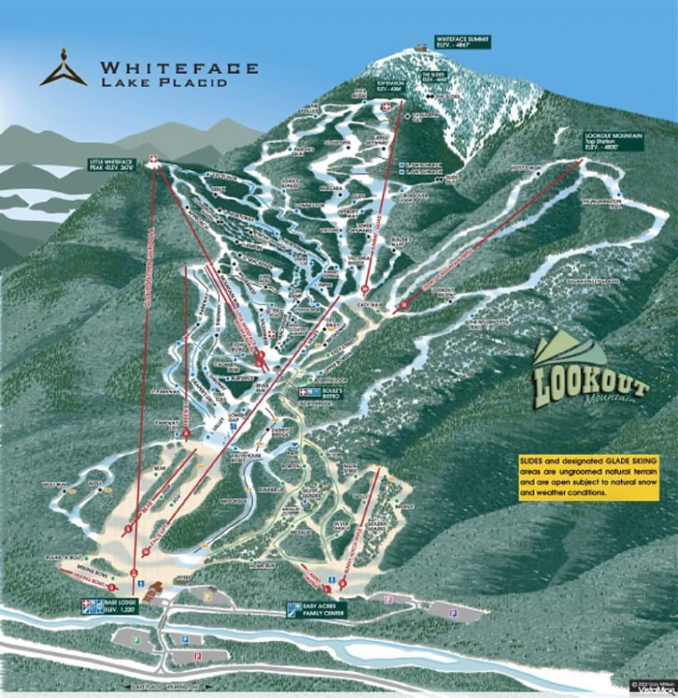 Whiteface Lake Placid Trail Map | Liftopia