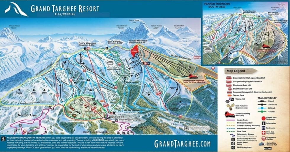 Mountain View Wyoming Map.Grand Targhee Trail Map Liftopia