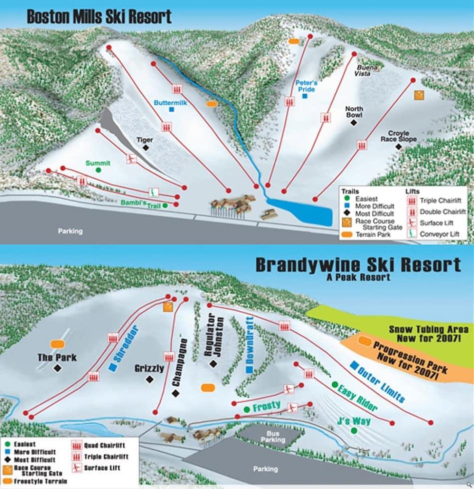 boston mills/brandywine trail map | liftopia