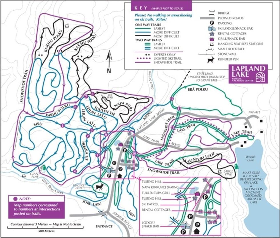 lapland lake xc trail map   liftopia
