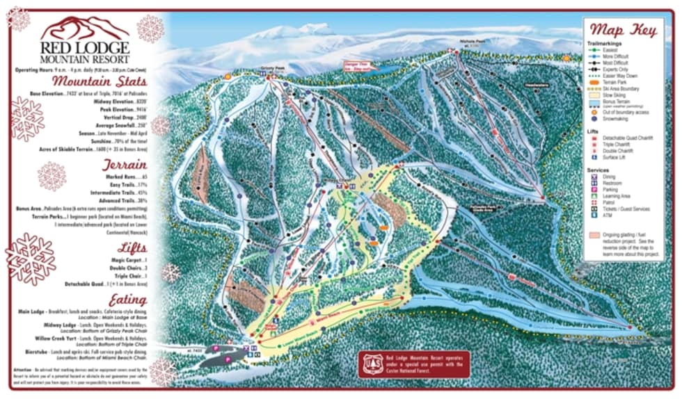 Red Lodge Mountain Trail Map Liftopia