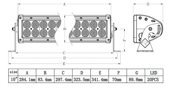 10 Inch Dual Row LED Bar Dimensions