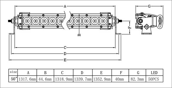 50 Inch Single Row LED Bar Dimensions