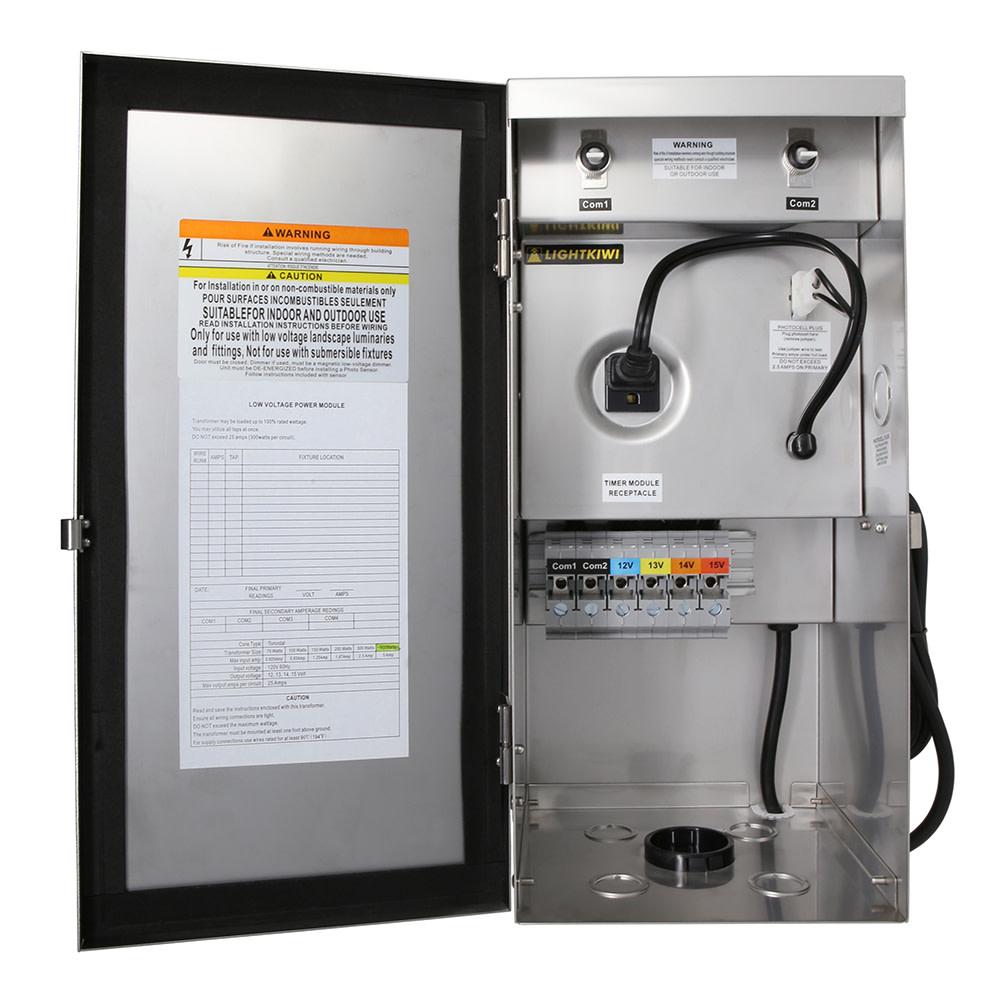 600 Watt Multi Tap Low Voltage Transformer For Landscape Lighting Wiring Heavy Duty Stainless Steel 12v 13v 14v 15v