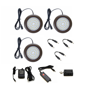 3.5 inch Cool White LED Puck Lights - Premium Kit (3 Pack)