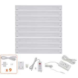 Lilium 12 Inch Warm White Modular LED Under Cabinet Lighting - Pro Kit (9 Panels)