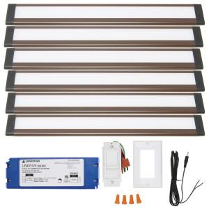 Dunn 12 Inch Cool White Modular LED Under Cabinet Lighting - Hardwire Kit (6 Panel)