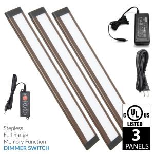 Dunn 12 Inch Warm White Modular LED Under Cabinet Lighting - Premium Kit (3 Panel)