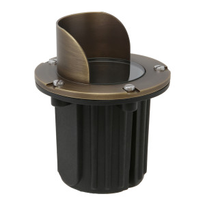 In-Ground Well Light w/ Angle Shield for Low Voltage Landscape Lighting - Brass