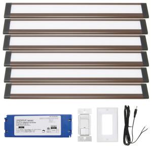 Dunn 12 Inch Warm White Modular LED Under Cabinet Lighting - Hardwire Kit (6 Panel)