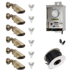 Low Voltage LED Landscape Lighting Kit - (6) Downlight Kit