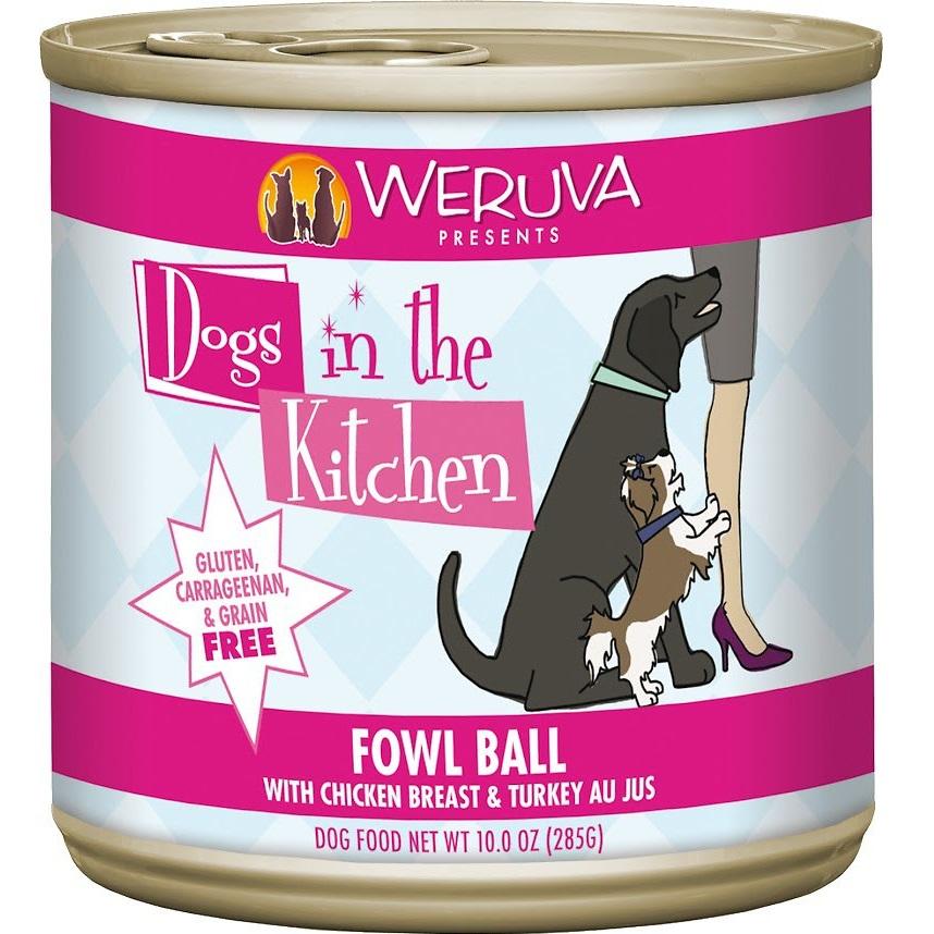 Weruva Dogs in the Kitchen 'Fowl Ball' Chicken Breast & Turkey Au Jus Canned Dog Food 10z, 12