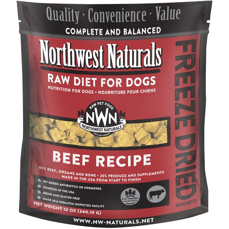 Northwest Naturals Raw Diet Grain-Free Beef Nuggets Freeze Dried Dog Food 12z