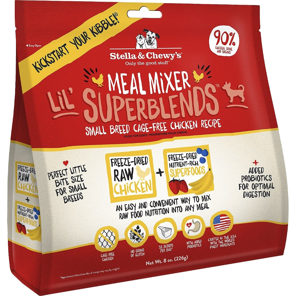 Stella & Chewy's Lil' SuperBlends Cage-Free Chicken Meal Mixers Grain-Free Raw Freeze-Dried Small Breed Dog Food 3.25z
