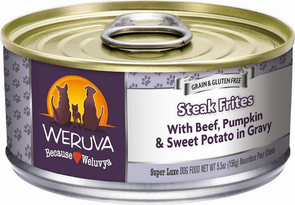 Weruva Steak Frites with Beef, Pumpkin & Sweet Potatoes in Gravy Grain-Free Canned Dog Food 5.5z, 24