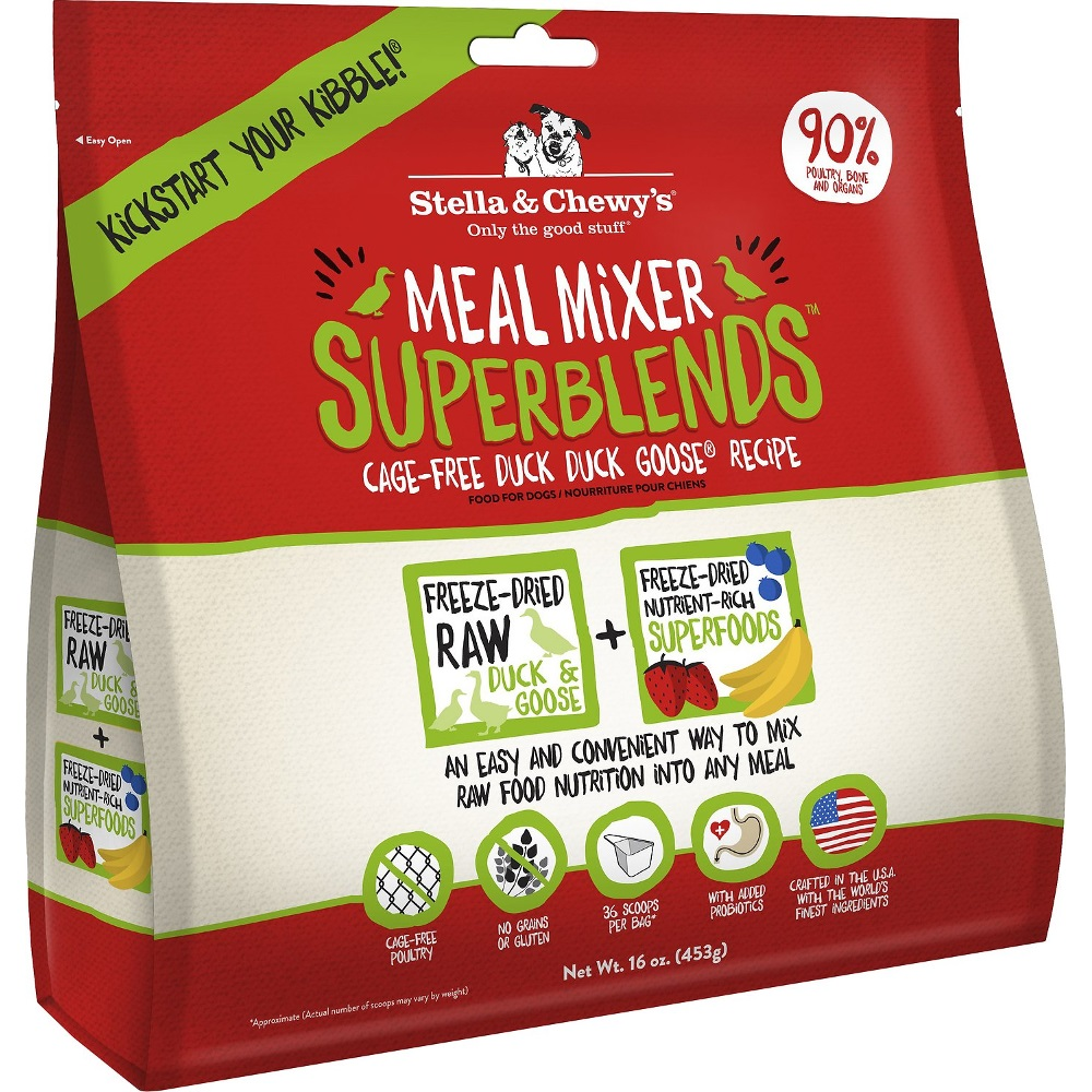 Stella & Chewy's SuperBlends Duck Duck Goose Meal Mixers Grain-Free Raw Freeze-Dried Dog Food 16z