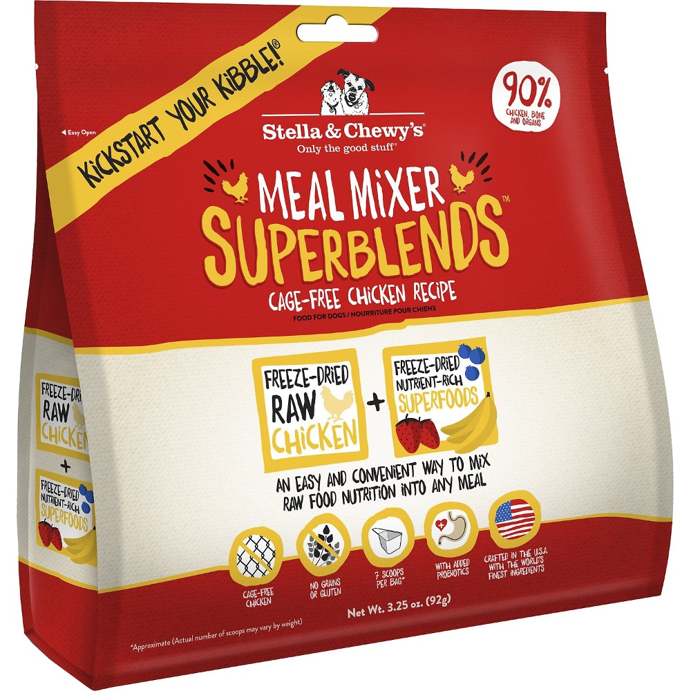 Stella & Chewy's SuperBlends Cage-Free Chicken Meal Mixers Grain-Free Raw Freeze-Dried Dog Food 3.25z
