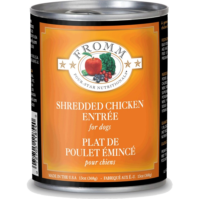 Fromm Four-Star Nutritionals Shredded Chicken Entree Canned Dog Food 13z, 12