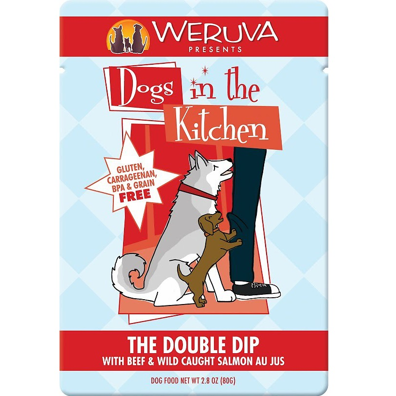 Weruva Dogs in the Kitchen 'The Double Dip' Beef & Wild Salmon Au Jus Dog Food Pouches 2.8, 12