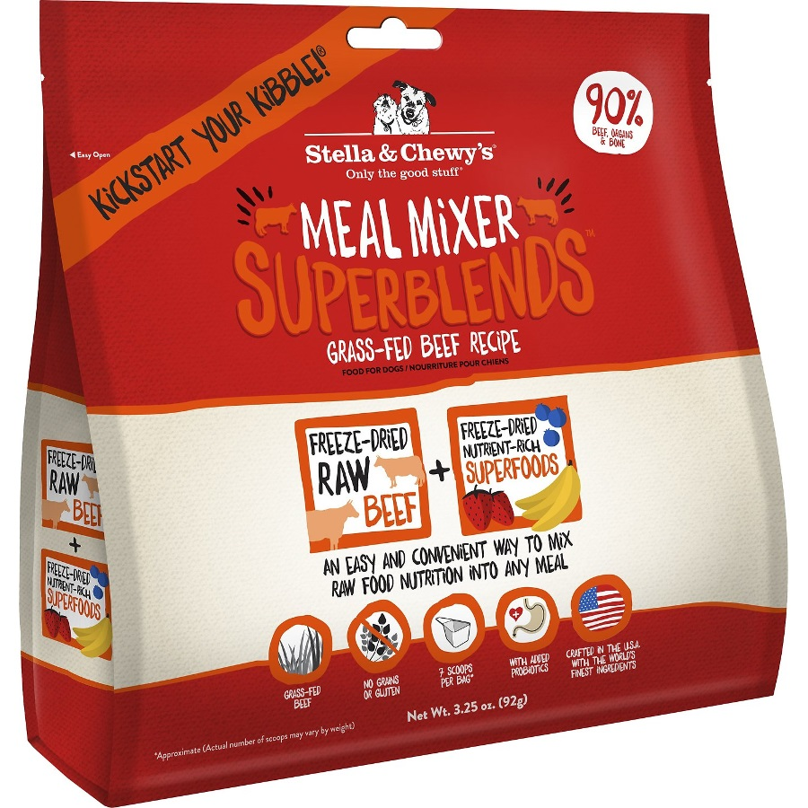 Stella & Chewy's SuperBlends Grass-Fed Beef Meal Mixers Grain-Free Raw Freeze-Dried Dog Food 3.25z