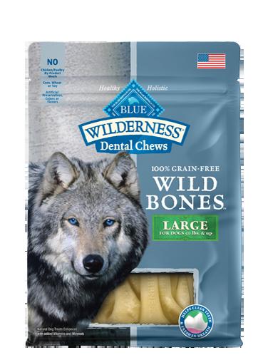 Blue Buffalo Wilderness Wild Bones Large Dental Chews Grain-Free Dog Treats 10z