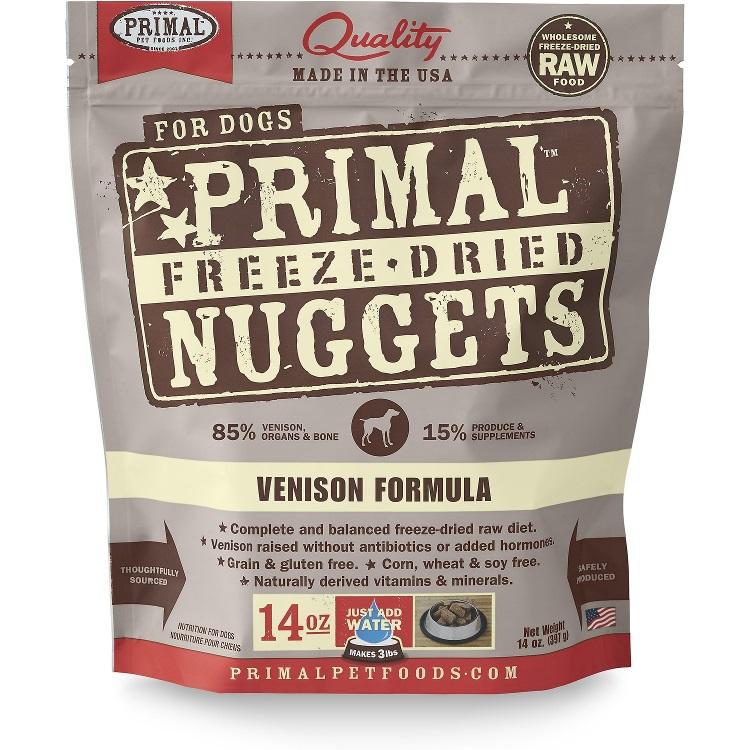 Primal Venison Formula Nuggets Freeze Dried Dog Food 14z