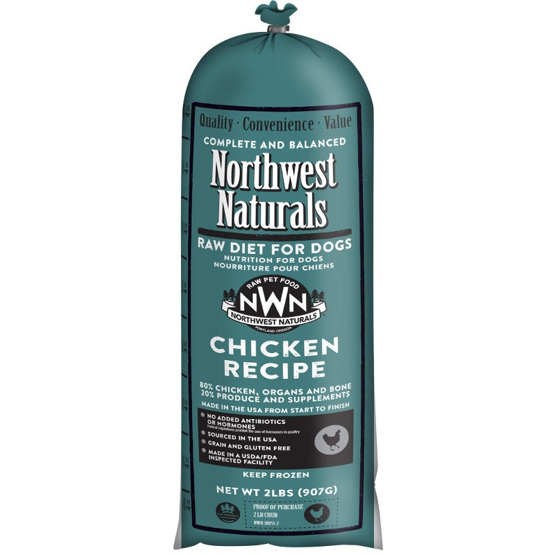 Northwest Naturals Raw Diet Grain-Free Chicken Chub Roll Raw Frozen Dog Food 2lbs