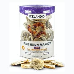 Icelandic+ Dehydrated Lamb Horn Marrow Chips Dog Treats - 2.5 oz Tub