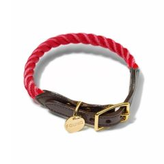 Found My Animal Rope & Leather Collar- Red