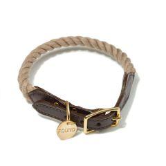 Found My Animal Rope & Leather Collar- Dark Tan