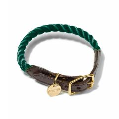 Found My Animal Rope & Leather Collar- Hunter Green