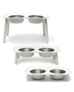Messy Mutts - Elevated Double Feeder - Light Grey