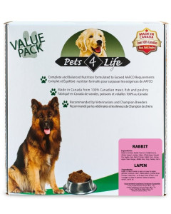 Pets 4 Life (dog) - Raw - Canine Rabbit -
