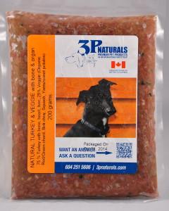 3P - (Dog) Raw - Natural Turkey w/ bone&organs w/ veg