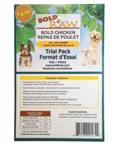 Bold Raw (Dog) - Trial Pack (3 patties x 5 oz) Natural Chicken